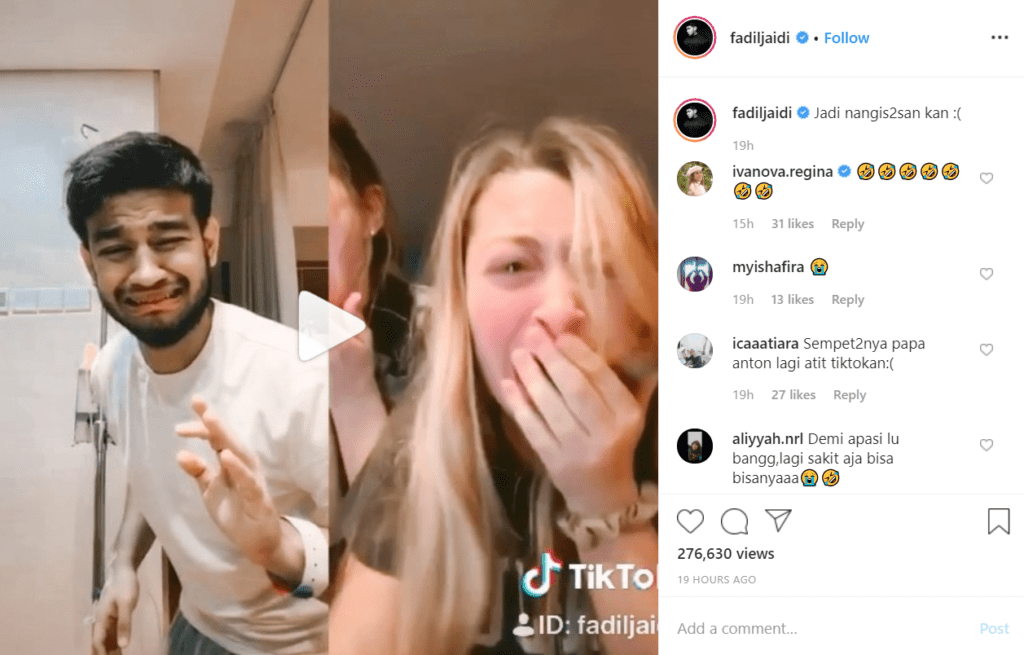 video tiktok fadil di instagram